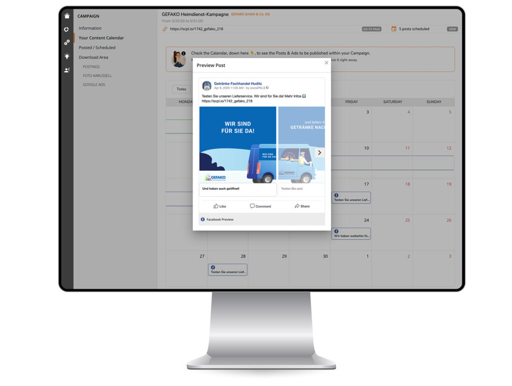 Easy campaign planning and management in the content calendar