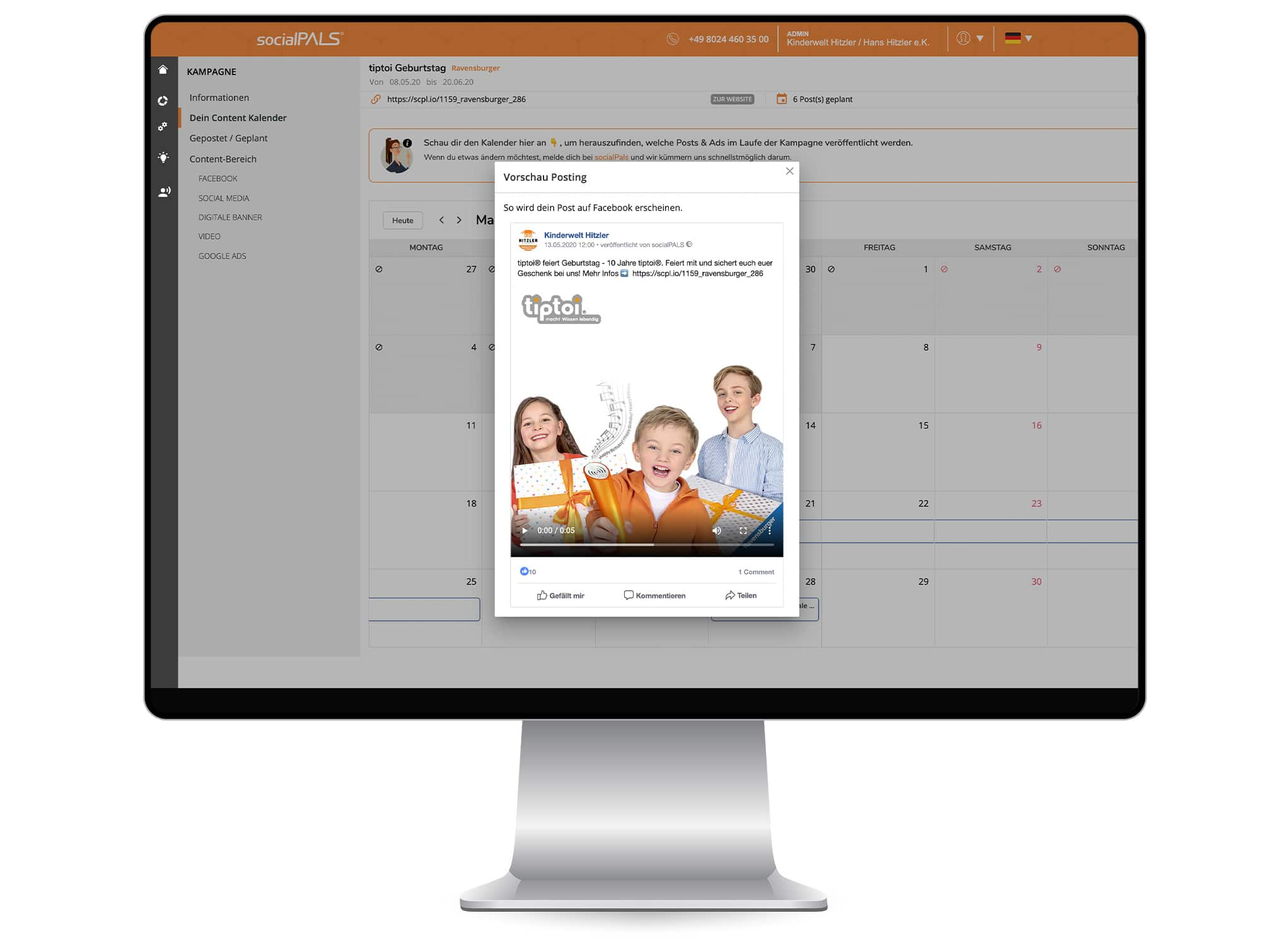 The entire campaign can be started in the content calendar with just one click.