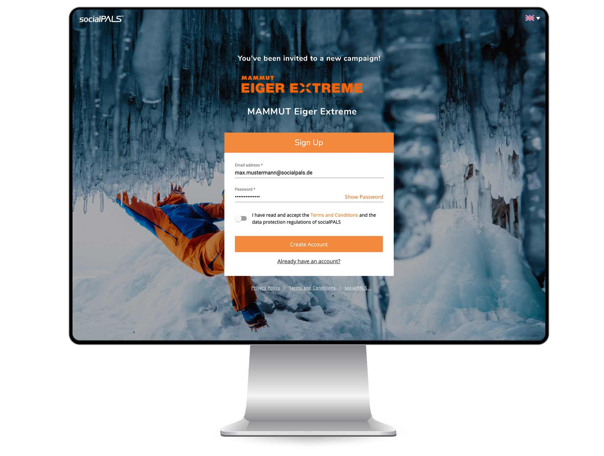 Login screen for turnkey campaign solution