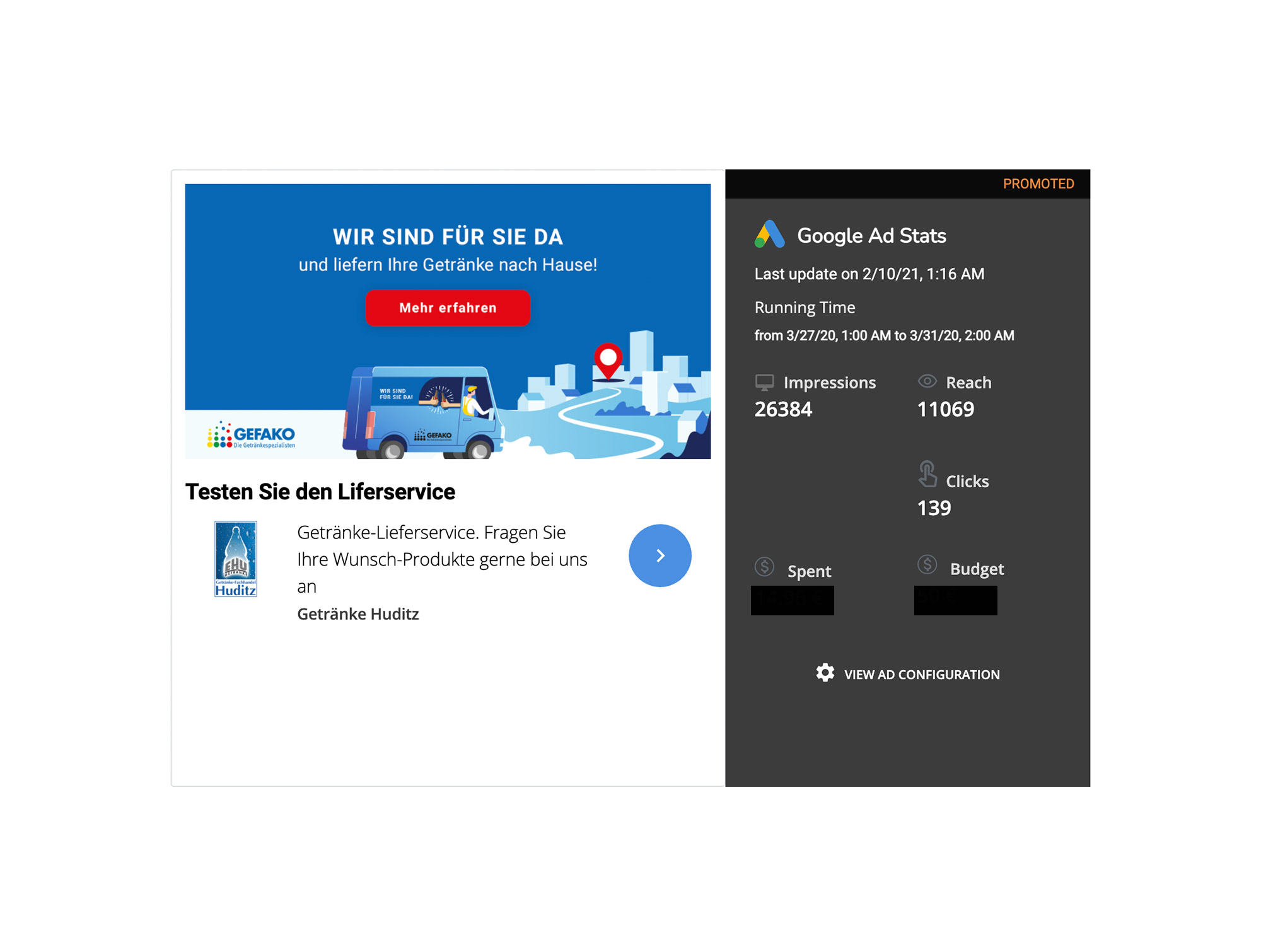 Google Ads and all relevant key figures within the socialPALS platform
