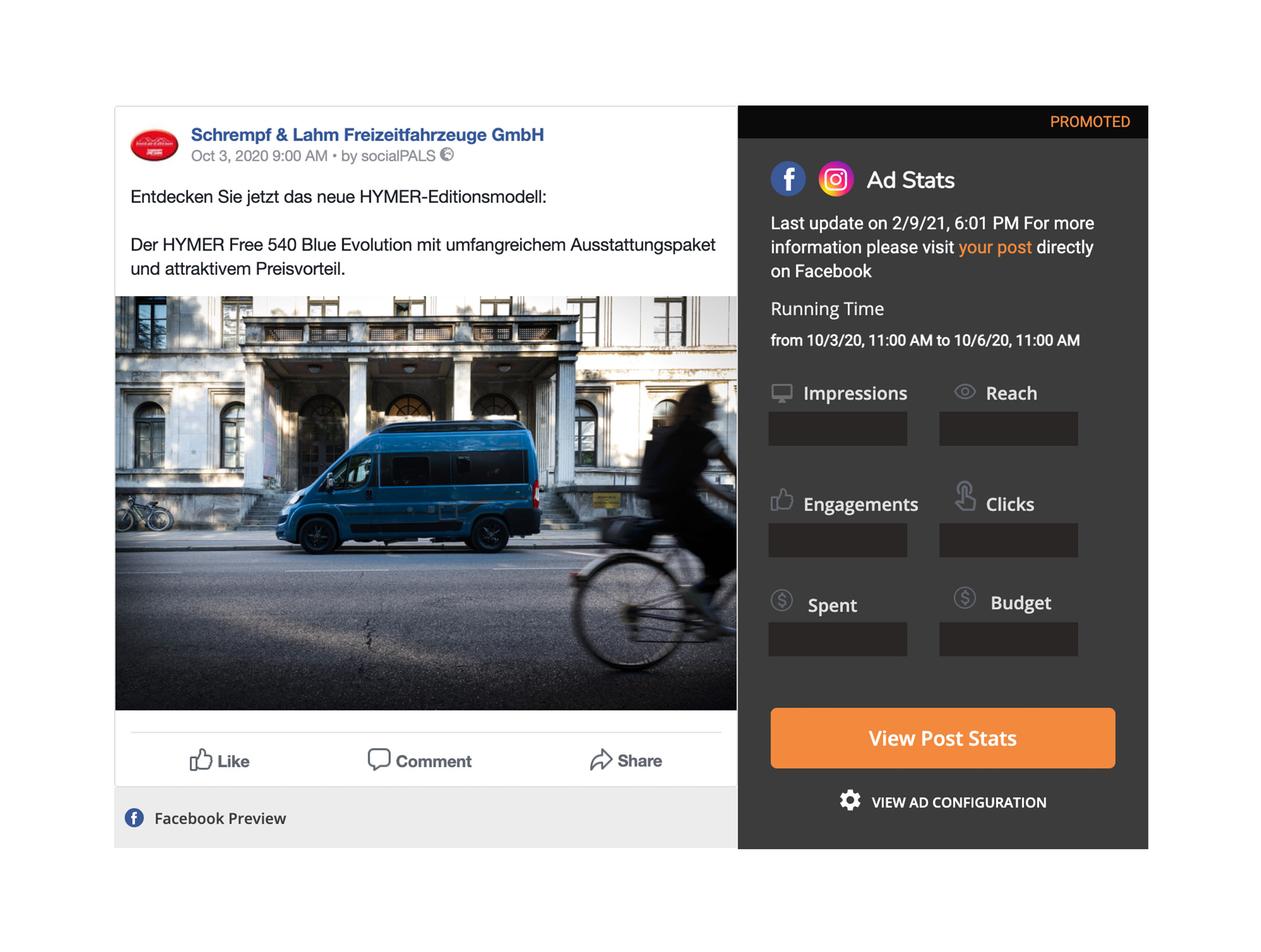 In the socialPALS platform, the dealer can view the key figures of his postings at all times.