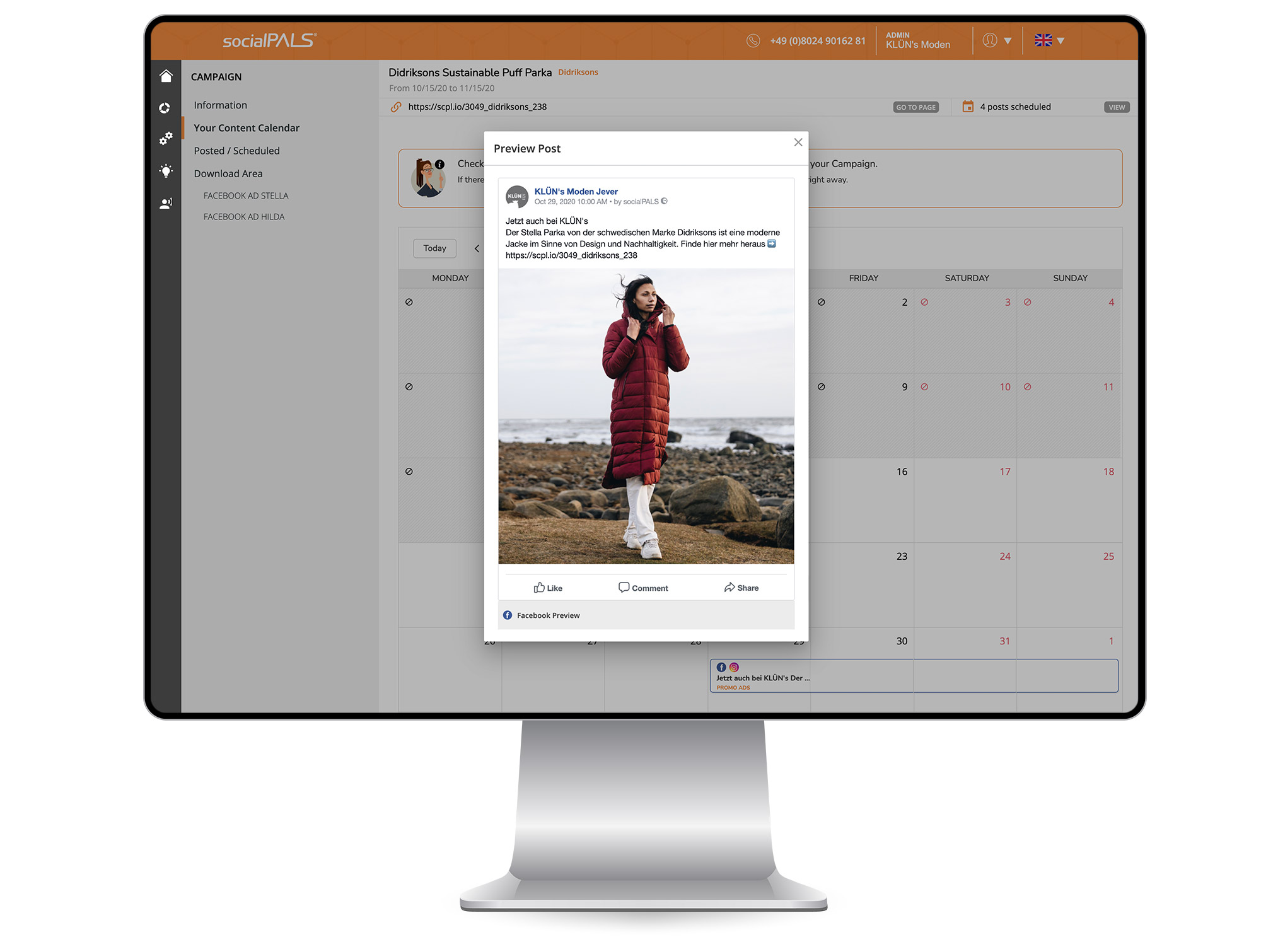With the content calendar, any campaign can be individualized in no time at all.