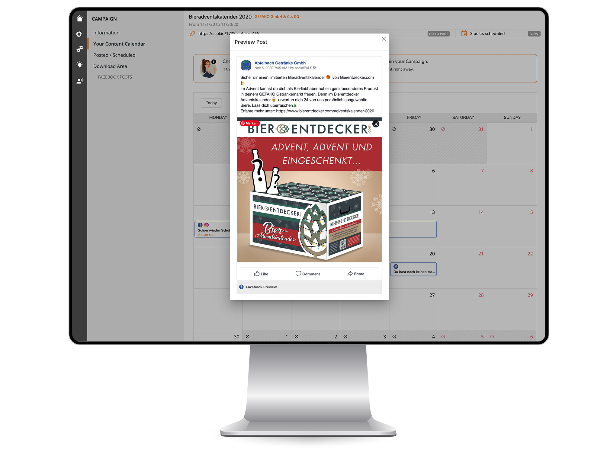 With the content calendar, any campaign can be individualized in no time at all.  Turnkey campaign solution: